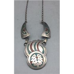 Vintage 1970s Chip Inlay Necklace