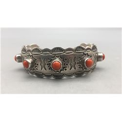 Five Stone Coral Bracelet by Ted Secatero