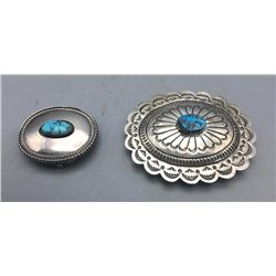 Two Sterling Silver and Turquoise Buckles