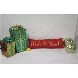 Red 'Mele Kalikimaka' Pillow w/ 2 Gift Boxes & 2 Round Ornaments