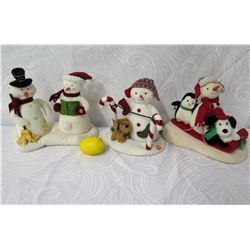 Qty 3 Snowmen Figurines: Carolers, Candy Canes & Sledding