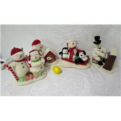 Qty 4 Snowmen Figurines: Candy Canes, Doghouse, Piano Player & Sledding