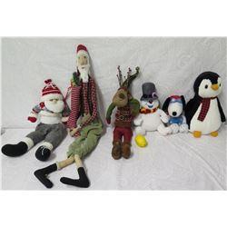 Qty 6 Holiday Plush Toys: 2 Santa, Reindeer, Snowman, Penguin, etc
