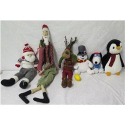 Qty 6 Holiday Plush Toys/Decor: 2 Santa, Reindeer, Snowman, Penguin, etc