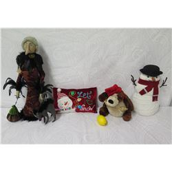 Qty 4 Holiday Plush Toys: Snowman, Mrs. Claus, Dog & Pillow