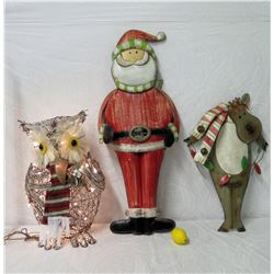 Qty 3 Large Holiday Decor: Santa, Reindeer & Lighted Owl