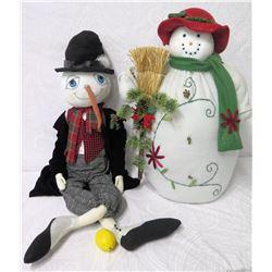 Qty 2 Holiday Plush Snowmen 26  Height
