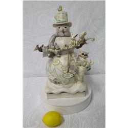 Jim Shore White Woodland Snowman Figurine w/ Birds & Animals (Retail $99)