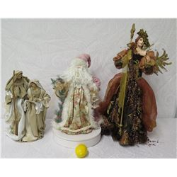 Qty 3 Holiday Figurines: Mary & Joseph, Santa & Lady w/ Cross