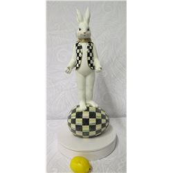 "MacKenzie Childs Banner Day Bunny Figurine, 24"" Tall (Retail $250)"
