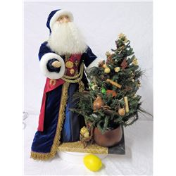 Santa Figurine w/ Hawaiian Decorated Christmas Tree, 26  Tall