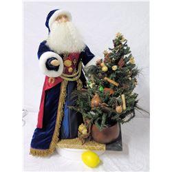 Santa with Hawaiian Decorated Christmas Tree, 26  Tall
