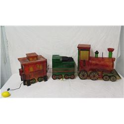 "Lighted Locomotive Train w/ Car & Caboose, 20"" Ht"