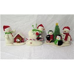 Qty 3 Snowmen Figurines: Dog House, Skier & Around the Tree w/ Penguins