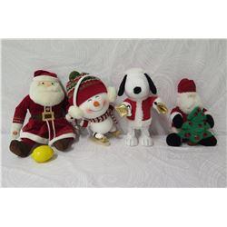 Qty 4 Holiday Plush Toys/Decor: Snowman, Snoopy & 2 Santa Claus