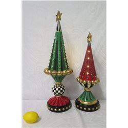 Qty 2 MacKenzie-Childs Ceramic Christmas Tree Statues (Retail $275 each)