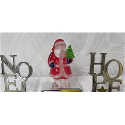 "Qty 3 Holiday Decorations: Silver-Tone Noel & Hope Letters & Santa 6""-7"" Height"