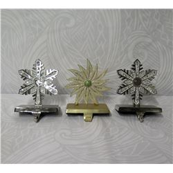 "Qty 3 Neiman Marcus Stocking Hooks - Intricate Snowflakes 6"" Height"