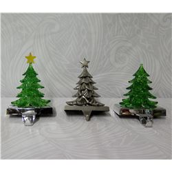 """Qty 3 Decorated Christmas Trees Stocking Hooks, 7"""" Height"""