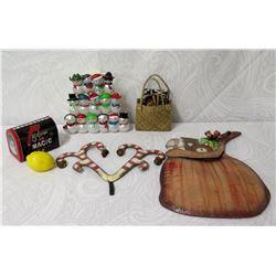 Qty 14 Snowman Ornaments, Santa 'Believe in Magic' Mailbox, Basket, etc