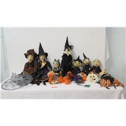 "Halloween Decor: 6 Witches, Jack-O-Lanterns, Spiders, etc 11""-25"" Tall"