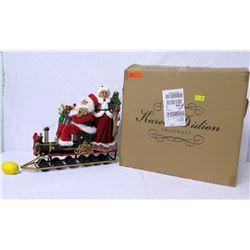 Karen Didion Originals Signature Collection Santa w/ Mrs. Claus Train Figurine