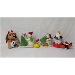 Qty 4 Holiday Decor: Plush Dog, 2 Snowman Figurines & Snoopy