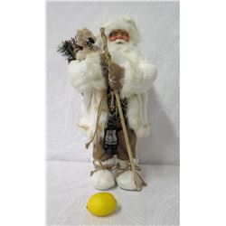 Santa with White Hooded Parka, Furry Boots & Toy Bag