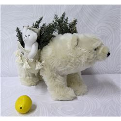 "Furry Polar Bear w/ 2 Saddle Bags with Toys, Animals & Pine 13"" Ht."