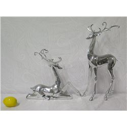 Qty 2 Metal Reindeer Figurines w/ Removable Antlers 22  Tall