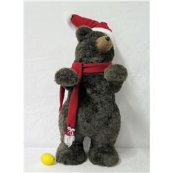 "Plush Holiday Bear w/ Santa Cap & Scarf 32"" Tall"