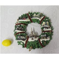 Thomas Kinkade Christmas Village Wreath Wall Hanging, Limited Edition D118.7