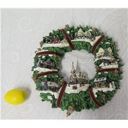 Thomas Kinkade Christmas Village Wreath Wall Hanging Limited Edition D150b