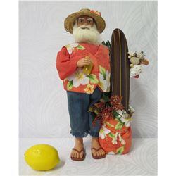 "Hawaiian Santa in Aloha Wear w/ Surfboard, Shells & Toy Bag 17"" Tall"