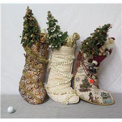 Qty 3 Christmas Stockings w/ Trees, Santa & Animals 28  Height