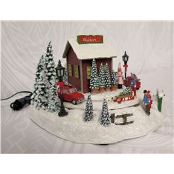 "Roman Christmas Musical LED 'Bucky's Tree Farm' Figurine 7"" Height"