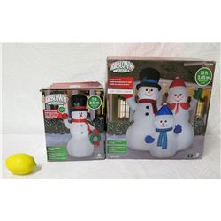 Qty 2 AirBlown Inflatables Yard Decorations: 7' Snowman & 10' Snowman Family