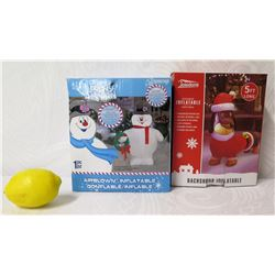 Qty 2 AirBlown Inflatables: 3 1/2 Ft. Height Frosty the Snowman & 5 Ft Long Dachshund