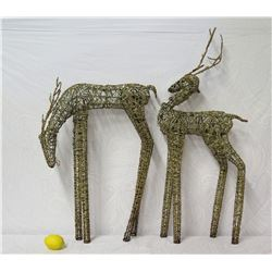 """Qty 2 Woven Reindeer Yard Decorations 32"""" & 40""""+ Height"""