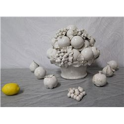 White Glazed Ceramic Fruit Bowl Décor w/ Misc. Fruit, Signed By Artist