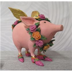"""Pink Decorated Pig w/ Gold Wings, Flowers & Maker's Mark PB 10 - 4"""" Height"""