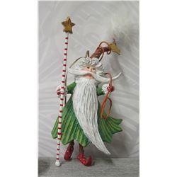 """Santa Figurine w/ Striped Pole & Maker's Mark PB 10 - 7"""" Tall"""