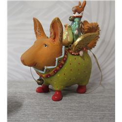 """Short Dog Figurine w/ Gold Wings, Pup & Maker's Mark PB 10 - 4"""" Height"""