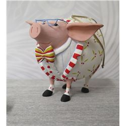"""Holiday Decorated Pig w/ Outfit, Glasses & Maker's Mark PB* - 4"""" Height"""