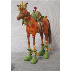 """Holiday Decorated Camel w/ Saddle, Gifts & Maker's Mark PB* - 7"""" Height"""