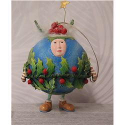 """Round Holiday Elf Ornament w/ Peace on Earth & Maker's Mark PB* - 6"""" Height"""