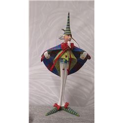 "Long-Legged Elf Figurine w/ Cape, Cap & Maker's Mark PB* - 7.5"" Tall"
