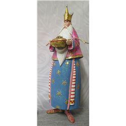 "King Figurine w/ Crown, Offering & Maker's Mark PB 09 - 10"" Tall"