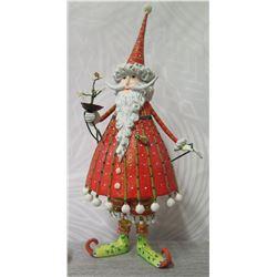"""Santa Figurine w/ Beard, Tree & Maker's Mark - 12"""" Tall"""