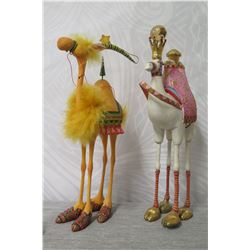 """Qty 2 Camel Figurines: White Porcelain & Yellow w/ Maker's Mark PB 10 - 11"""" Tall"""